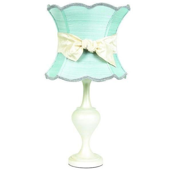 Pearl Colored Large Curvature Base with Blue XL Hourglass Shade and XL Ivory Sash-Table Lamp-Default-Jack and Jill Boutique