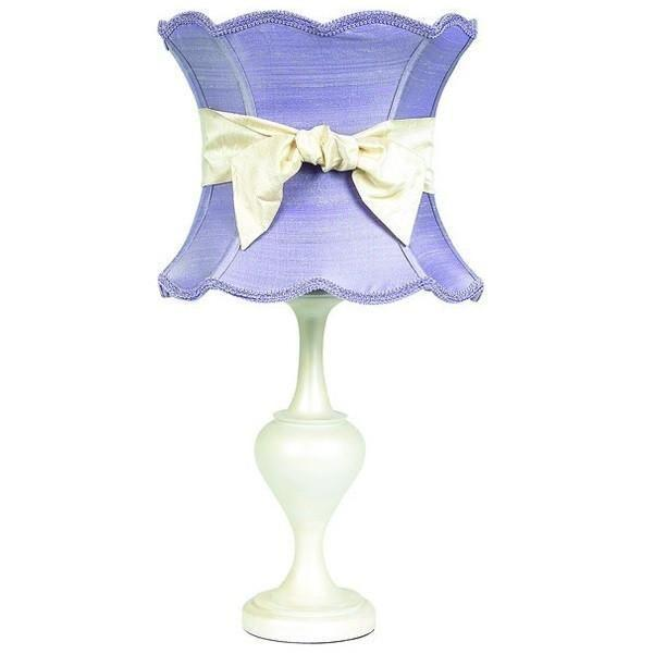 Pearl Colored Large Curvature Base with Lavender XL Hourglass Shade and XL Ivory Sash-Table Lamp-Default-Jack and Jill Boutique