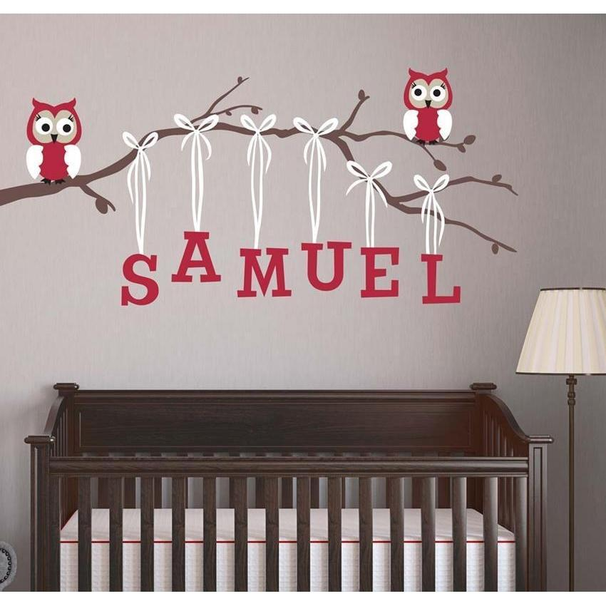 Personalized Boy Owl Branch Fabric Decal-Decals-30 in H x 60 in W-Jack and Jill Boutique