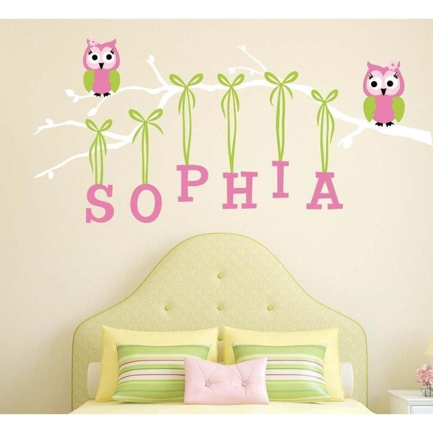Personalized Girl Owl Branch Fabric Decal-Decals-30 in H x 60 in W-Jack and Jill Boutique