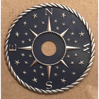 Compass Ceiling Medallions-Medallions-18 inch-Navy / Silver-Jack and Jill Boutique