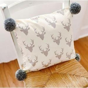 Pillow | Deer Buck Forest in Silver-Pillow-Jack and Jill Boutique