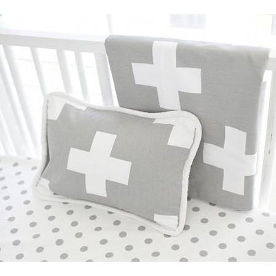Pillow | Gray Swiss Cross-Pillow-Jack and Jill Boutique