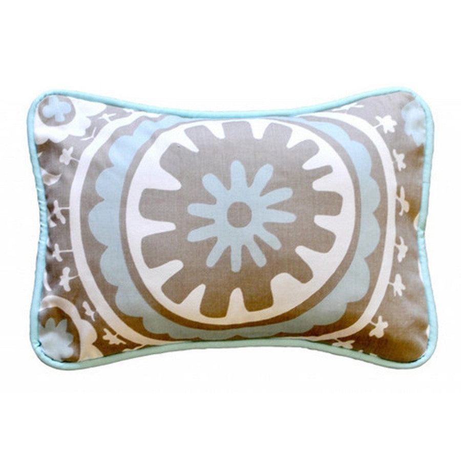 Pillow | Khaki & Aqua Suzani Picket Fence-Pillow-Jack and Jill Boutique