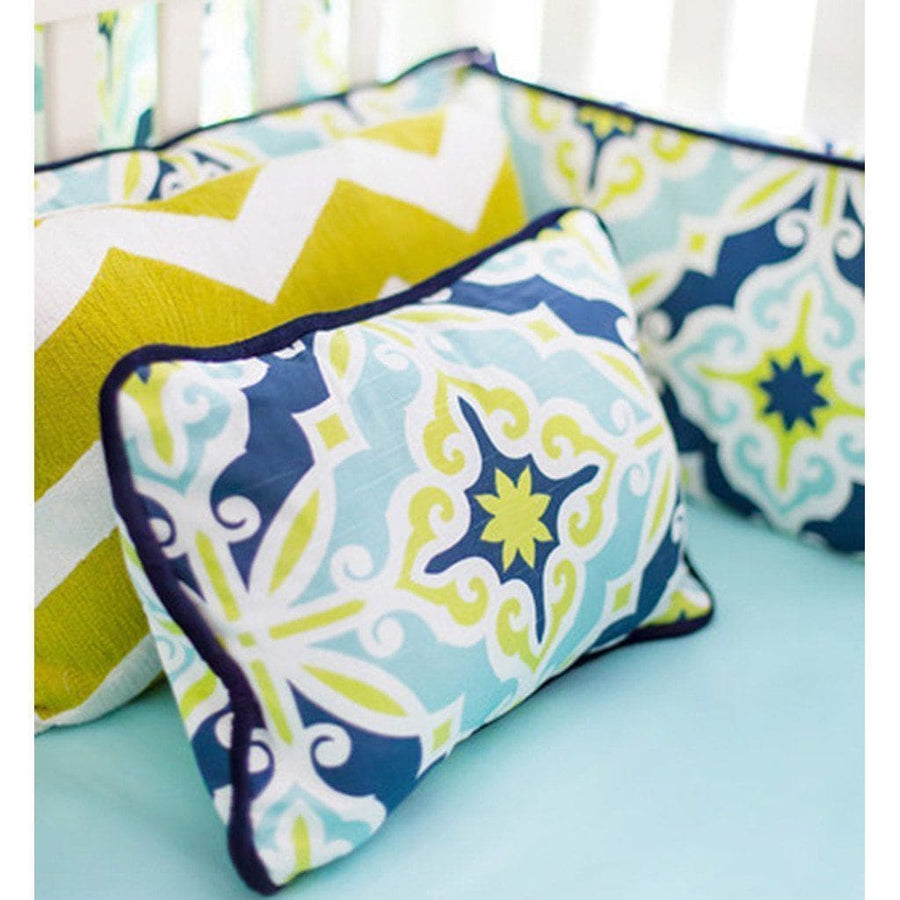 Pillow | Lime Green & Navy Starburst in Kiwi-Pillow-Jack and Jill Boutique