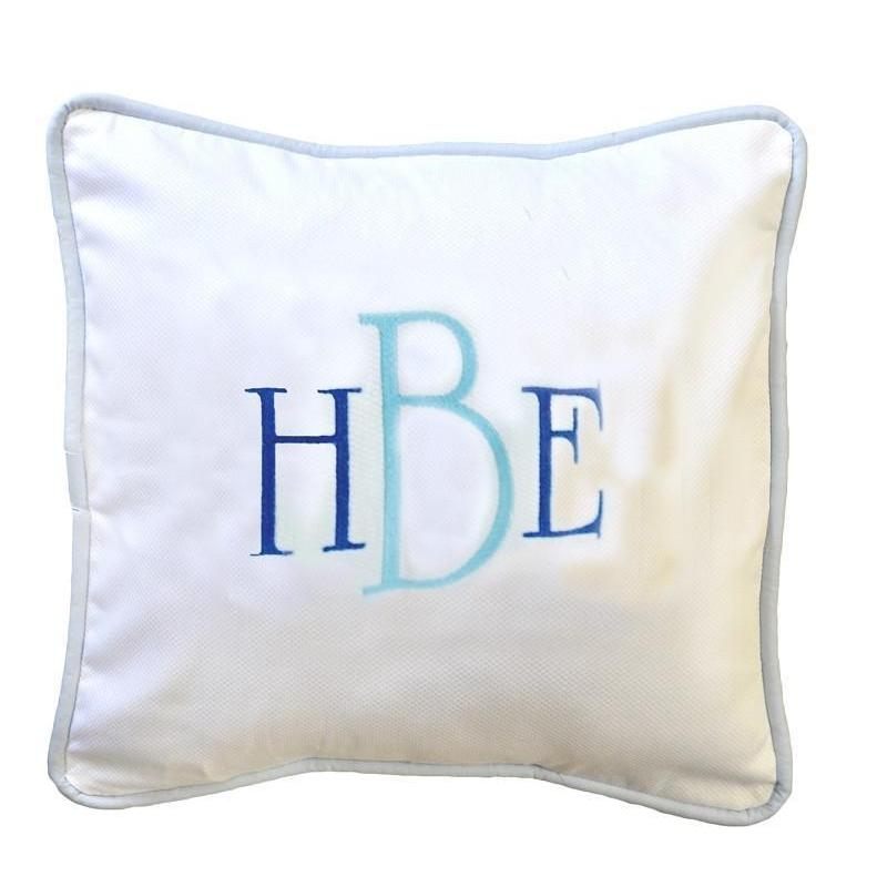 Pillow | White Pique with Blue Trim-Pillow-Jack and Jill Boutique