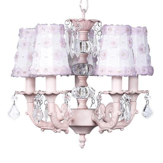 PINK - 5-arm Stacked Glass Ball Chandelier with White & Pink Petal Flower Sconce Shade-Chandeliers-Default-Jack and Jill Boutique