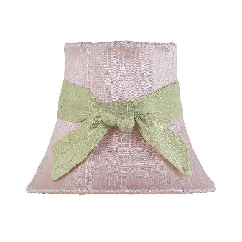 Pink Chandelier Shade with Sage Green Sash-Chandelier Shades-Default-Jack and Jill Boutique