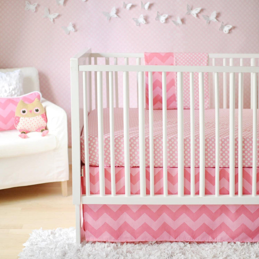 Pink Chevron Zig Zag Baby in Pink Sugar Baby Bedding Set
