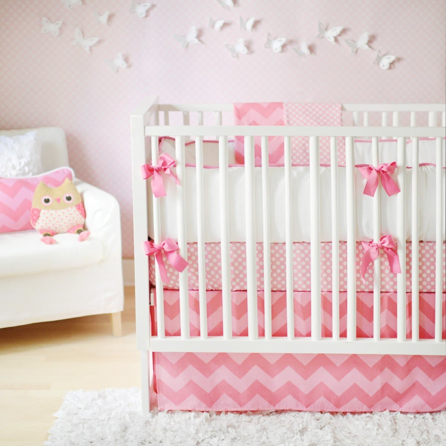 Pink Chevron Zig Zag Baby in Pink Sugar Baby Bedding Set-Crib Bedding Set-Jack and Jill Boutique