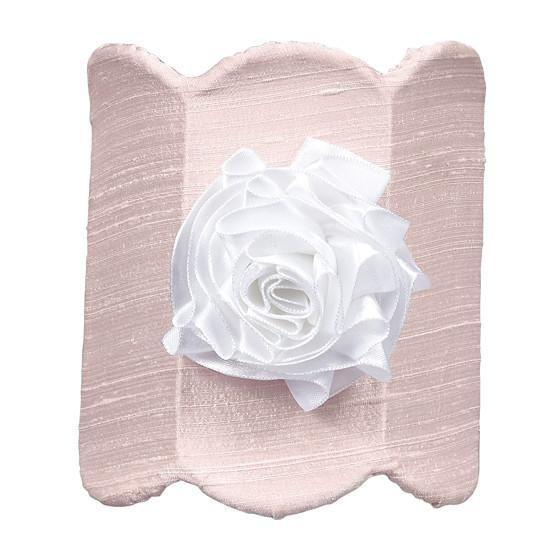 Pink Double Scalloped Nightlight with White Ribbon Rose Magnet-Night Lights-Default-Jack and Jill Boutique