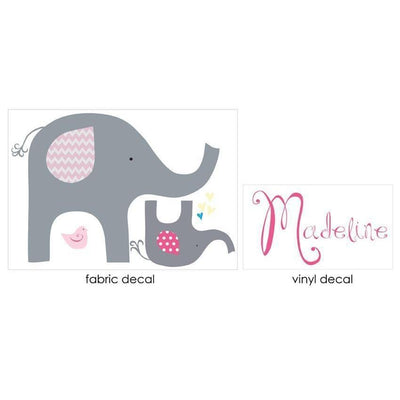 Pink Elephant Love Fabric Decal-Decals-One Size-Jack and Jill Boutique