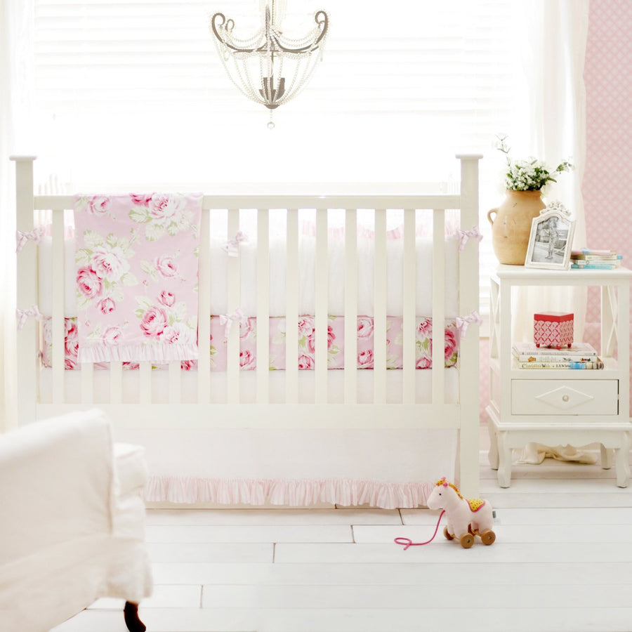 Pink Floral Desert Rose | Crib Bedding Set