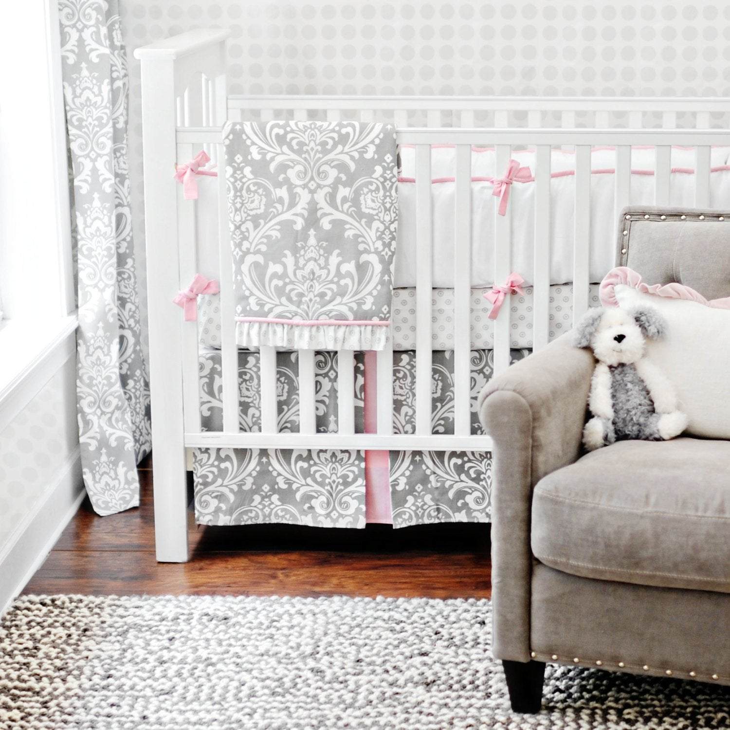 Pink & Gray Stella Gray Baby Bedding Set-Crib Bedding Set-Jack and Jill Boutique