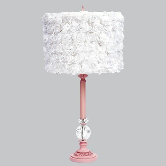 Pink Large Glass Ball Lamp with White Rose Garden Drum Shade-Ball Lamp-Default-Jack and Jill Boutique