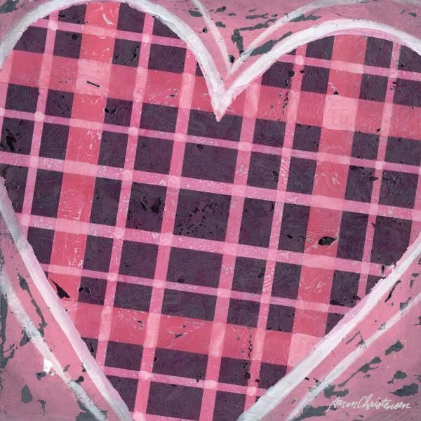 Pink Plaid Heart | Music Art Collection | Canvas Art Prints-Canvas Wall Art-Jack and Jill Boutique
