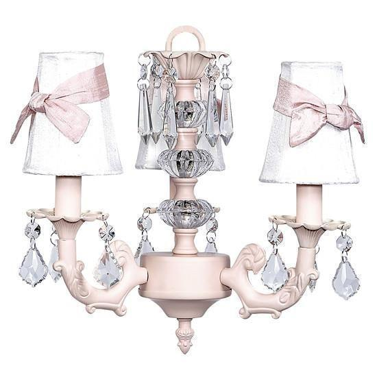 Pink Three-Light Stacked Glass Ball Mini Chandelier with Pink Sash White Shades-Chandeliers-Default-Jack and Jill Boutique