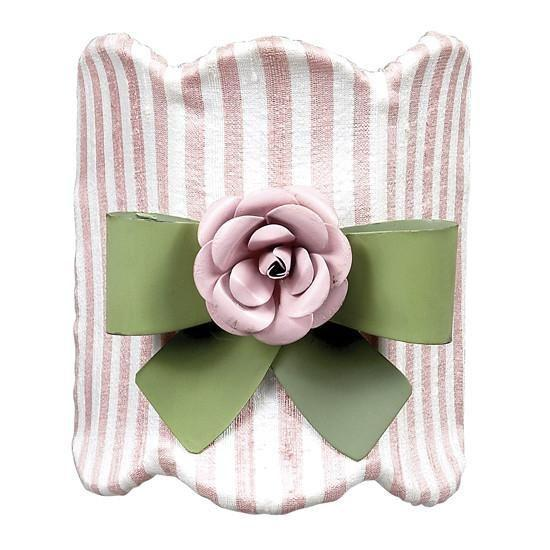 Pink & White Striped Nightlight with Green Bow Magnet & Light Pink Rose Magnet-Night Lights-Default-Jack and Jill Boutique