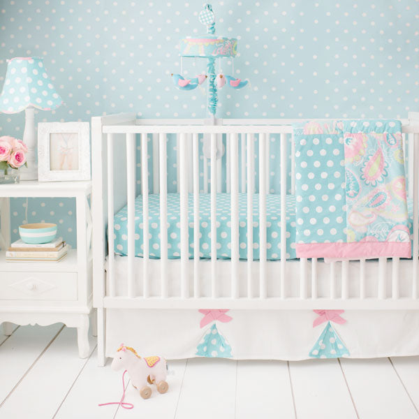 Pixie Girl Baby Bedding in Aqua-Crib Bedding Set-Sheet + Skirt + Blanket + Bumper-Jack and Jill Boutique