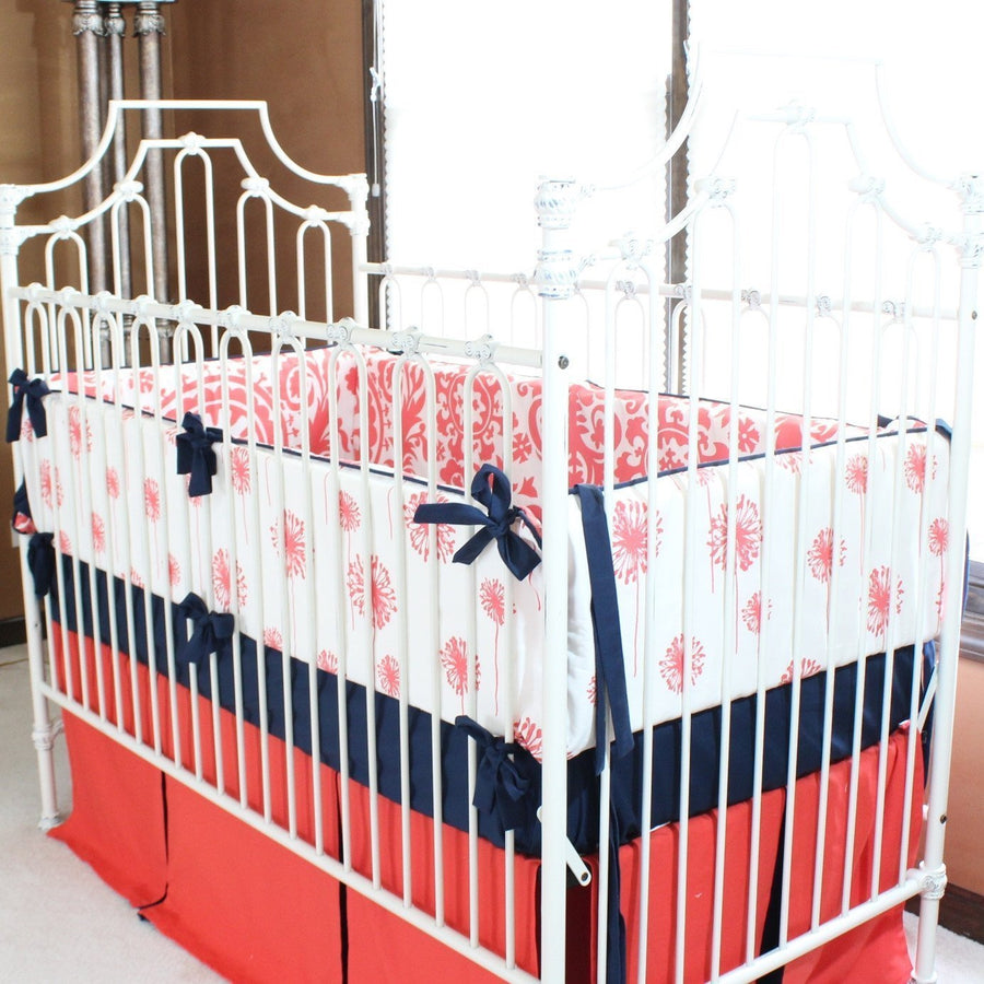 Pleated Crib Skirt in Coral and Navy | Levy's Dandelion Damask Baby Bedding-Crib Skirt-Jack and Jill Boutique