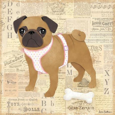 Pug Girl | Canvas Wall Art-Canvas Wall Art-Jack and Jill Boutique