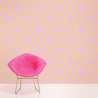 Quatrefoil Pink/Yellow Removable Wallpaper-Wallpaper Decal-Jack and Jill Boutique