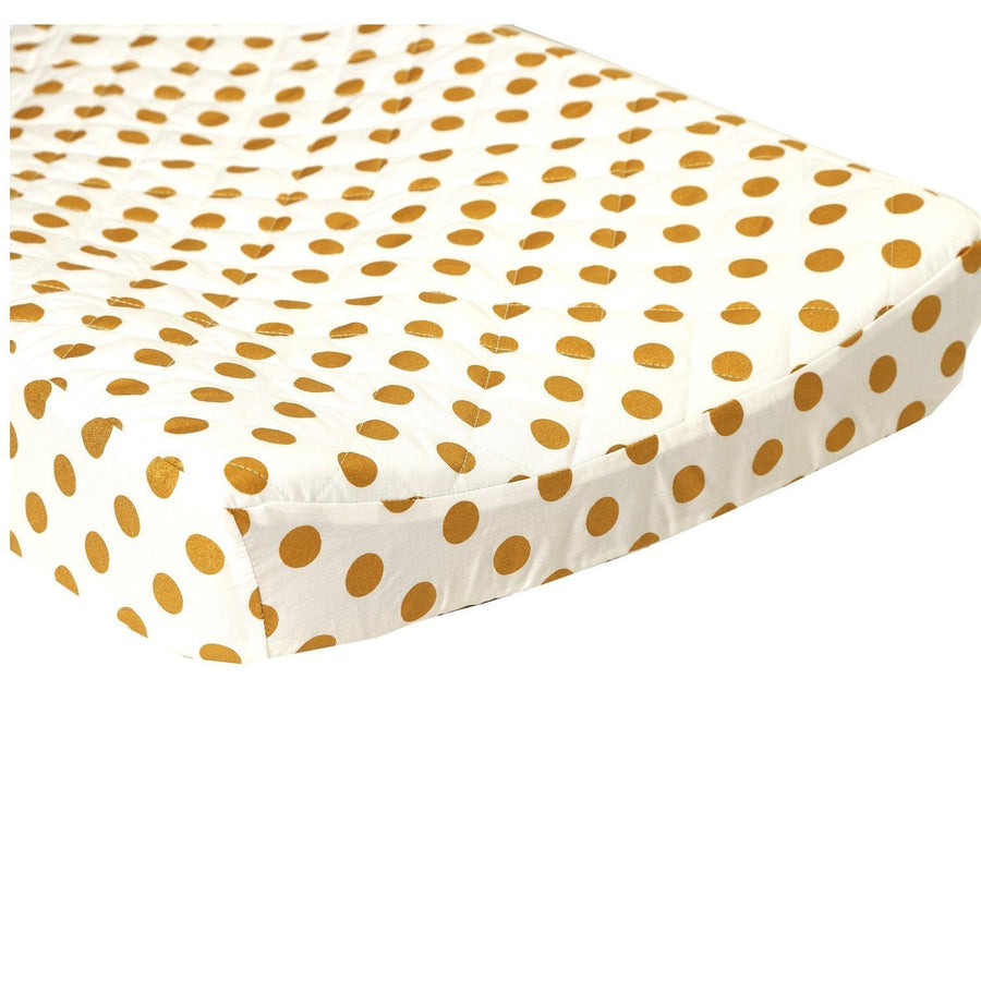 Quilted Changing Pad Cover | Metallic Gold Dots-Changing Pad Cover-Bold Bedding-Small Dots-Jack and Jill Boutique