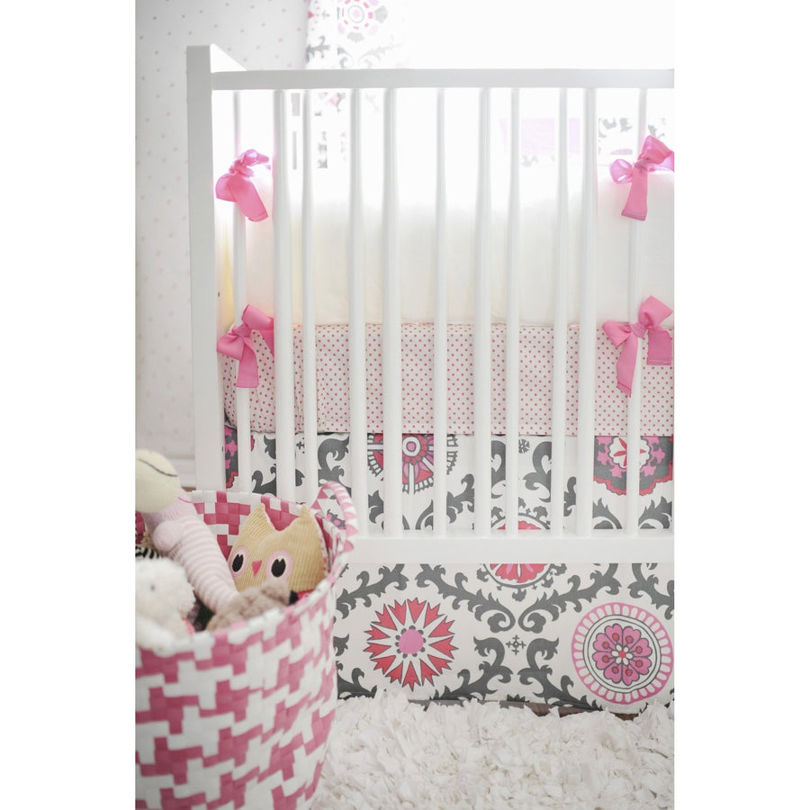 Ragamuffin in Pink Pink and Gray Baby Bedding Set