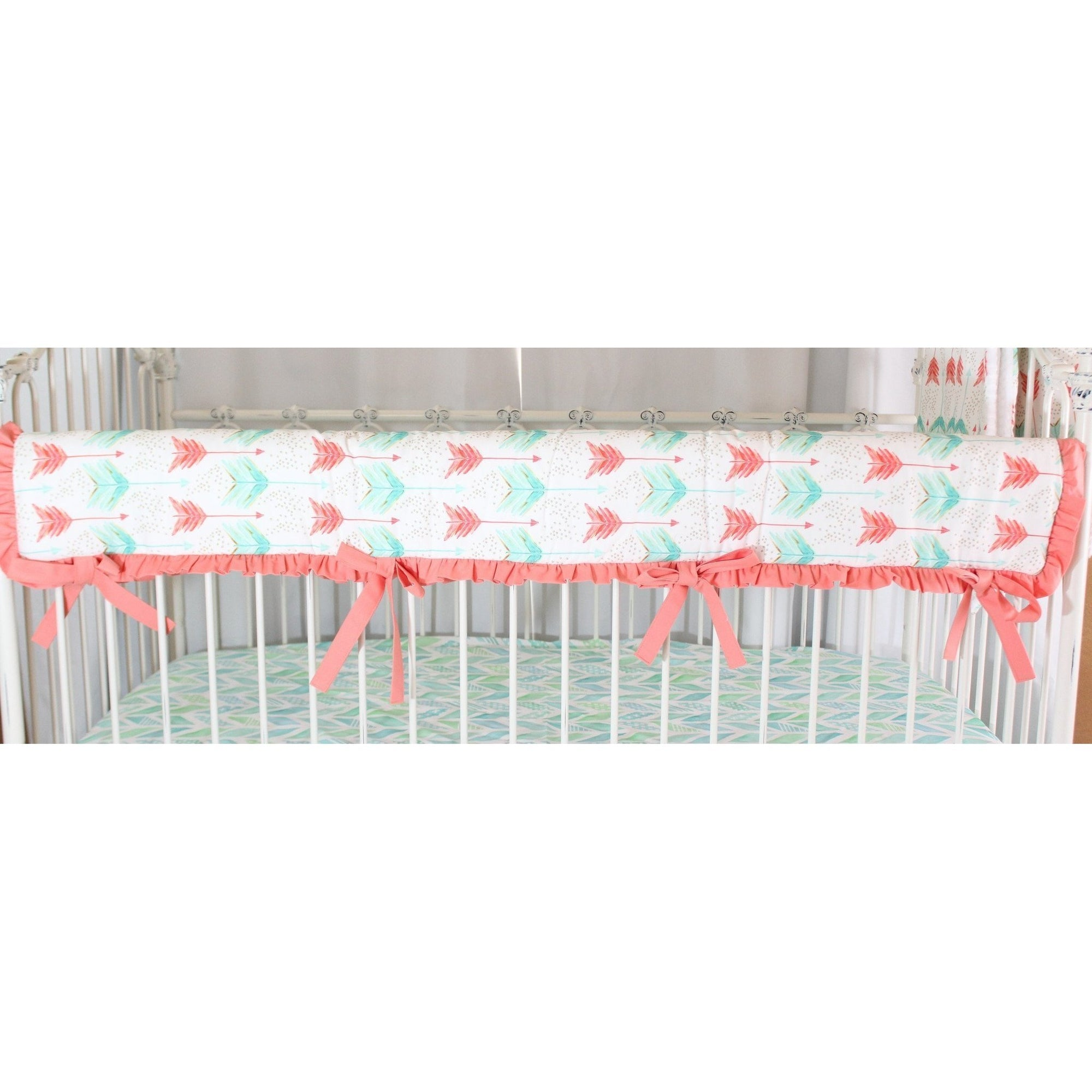 Rail Cover | Aqua and Coral Watercolor Herringbone Baby Bedding-Crib Rail Cover-Jack and Jill Boutique