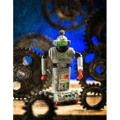 Robot & Gears - Blue | Canvas Wall Art-Canvas Wall Art-Jack and Jill Boutique