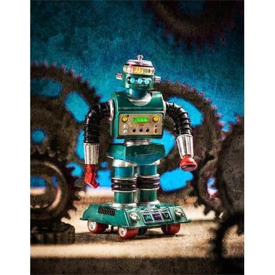 Robot & Gears - Turquoise | Canvas Wall Art-Canvas Wall Art-Jack and Jill Boutique