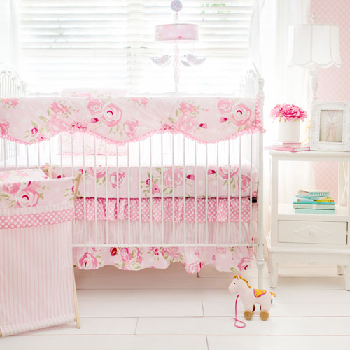 Rosebud Lane Floral Crib Baby Bedding Set - Teeth guard or Bumper options-Crib Bedding Set-Jack and Jill Boutique