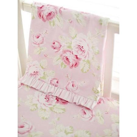 Ruffled Border Blanket | Pink Floral Pink Desert Rose