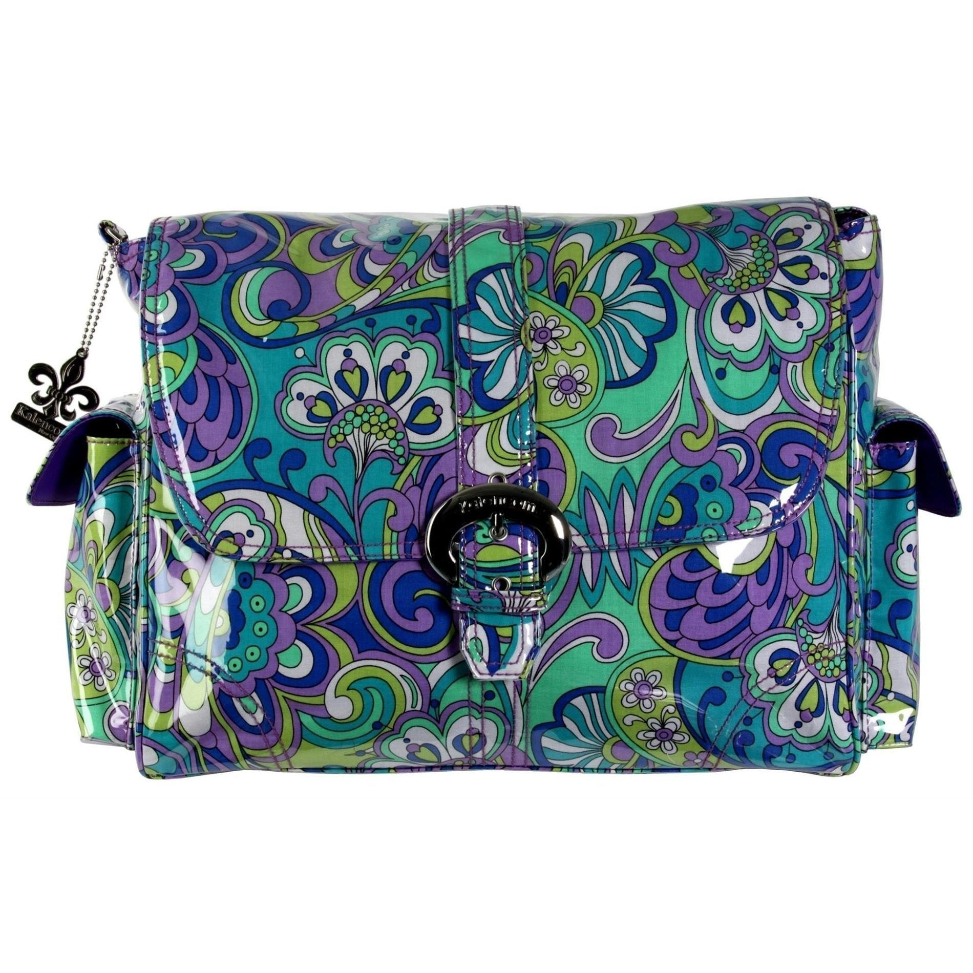 Russian Floral Blue Laminated Buckle Diaper Bag | Style 2960 - Kalencom-Diaper Bags-Jack and Jill Boutique