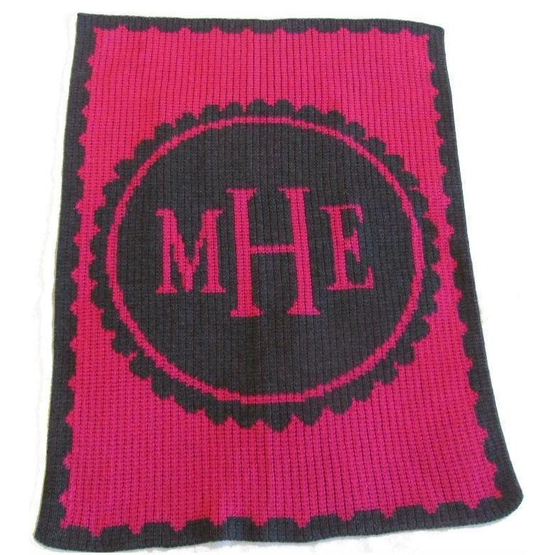Scalloped Monogram Personalized Stroller Blanket or Baby Blanket-Blankets-Jack and Jill Boutique
