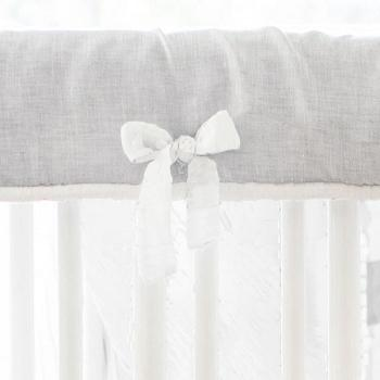 Gray and White Crib Bedding | Washed Sea Salt Gray Linen Collection