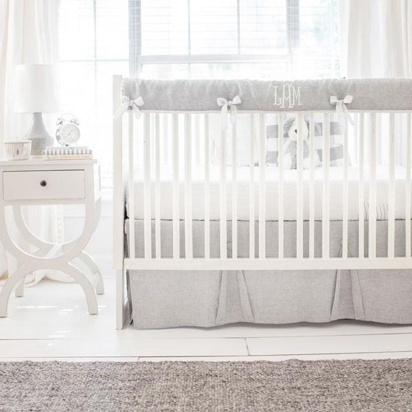 Gray and White Crib Bedding | Washed Sea Salt Gray Linen Collection-Crib Bedding Set-Jack and Jill Boutique