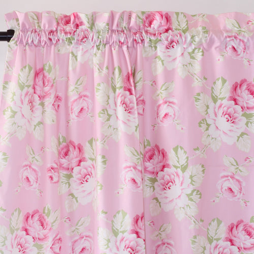 Curtain Panels-96-Standard-Jack and Jill Boutique-Curtain Panels Pair | Pink Floral Shabby Chic Roses