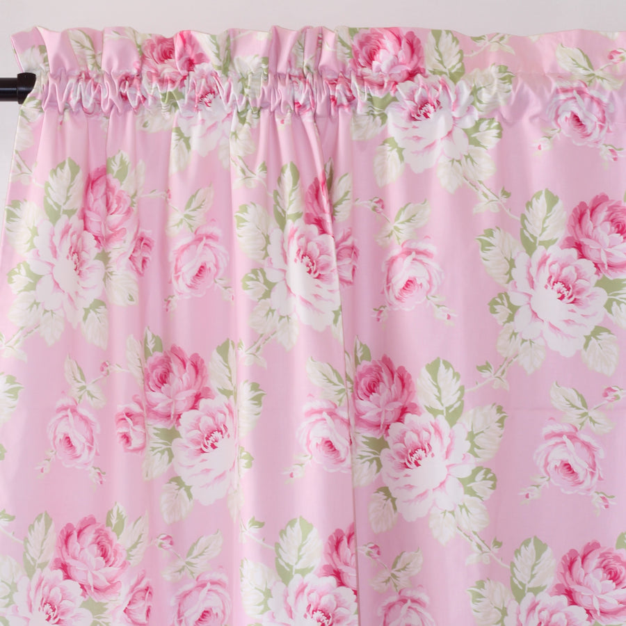 Curtain Panels Pair | Pink Floral Shabby Chic Roses