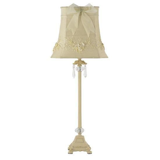 Shade - LG - Floral Bouquet - Ivory on Lamp Base -  LG - Crystal Dangle Glass Ball - Ivory