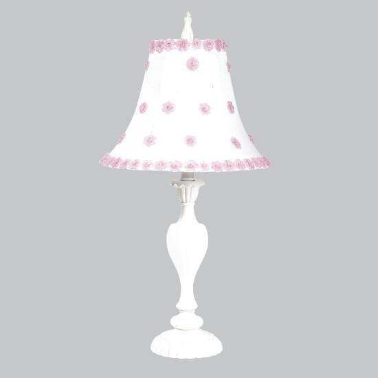 Shade - LG - Petal Flower - White/Pink on Lamp Base -  LG - Curvy Candle - White
