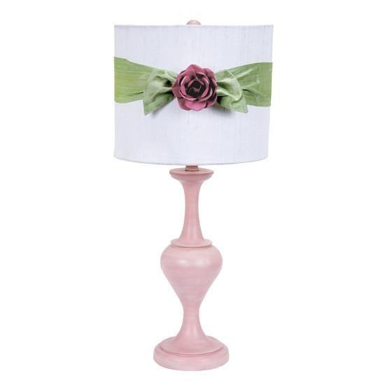 Shade - LG - Round Drum - White with a modern green sash and bright pink rose on Lamp Base -  LG - Curvature - Pink