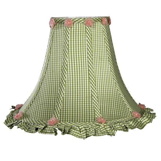 Shade - LG - Ruffled Edge - Green Check-Lamp Shades-Default-Jack and Jill Boutique