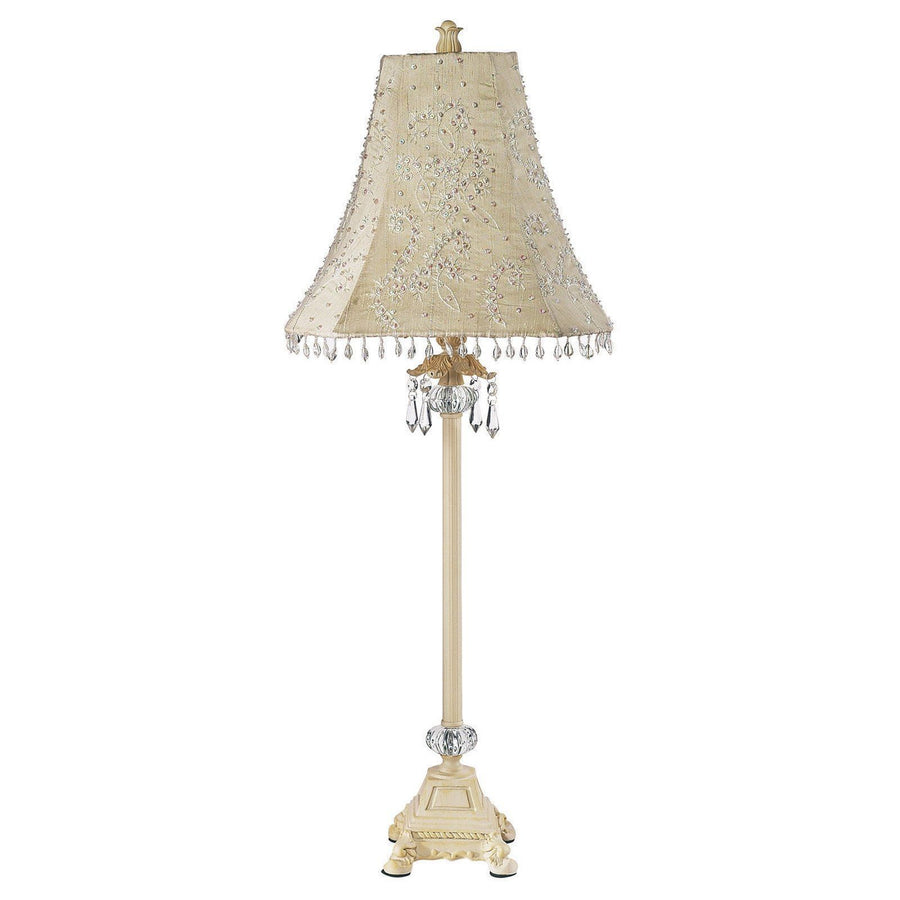 Shade - LG - Starburst - Ivory on Lamp Base - LG - Crystal Dangle Glass Ball - Ivory-Table Lamp-Default-Jack and Jill Boutique