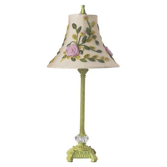 Shade - Med - Rose Net Flower - Multi on Lamp Base - Med - Scroll Glass Ball - Pistachio-Lamp Shades-Default-Jack and Jill Boutique