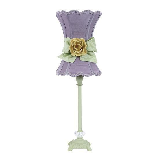 Shade - Med - Scallop Hourglass - Lavender with a Modern Green Bow and Yellow Rose Magnet on Lamp Base -  Med - Scroll Glass Ball - Pistachio