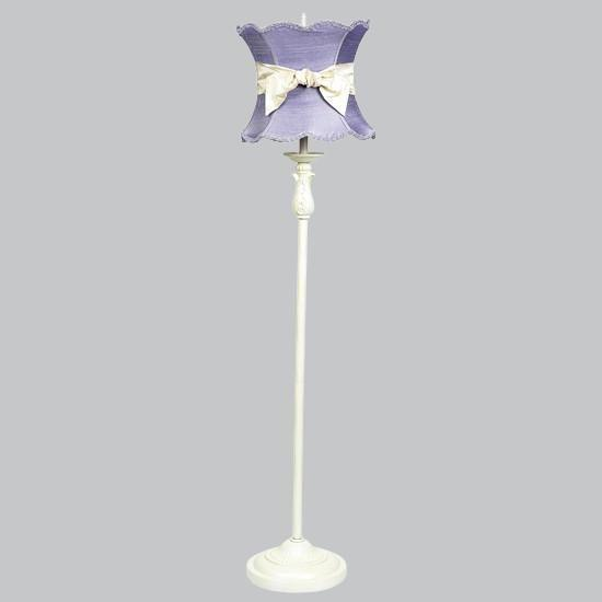 Shade - X-Large - Lavender Scallop Hourglass - with Ivory sash on Ivory Floor Lamp