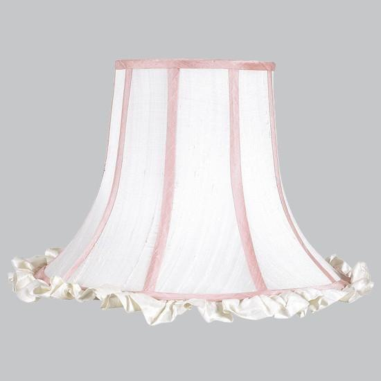 Shade - X-Large - White Ruffle/Pink trim-Lamp Shades-Default-Jack and Jill Boutique
