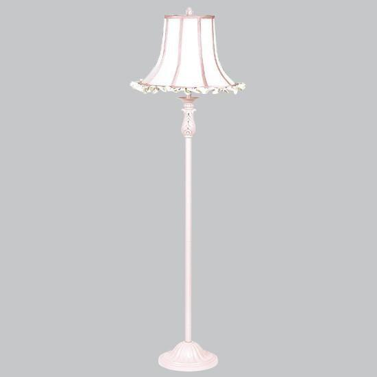 Shade - X-Large - White Ruffle/Pink trim on Pink Floor Lamp