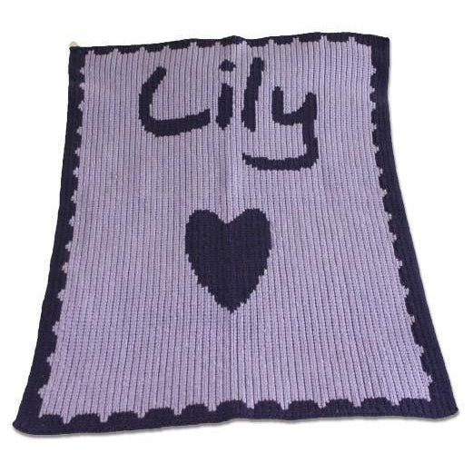 Single Heart and Scalloped Edge Personalized Stroller Blanket or Baby Blanket-Blankets-Jack and Jill Boutique